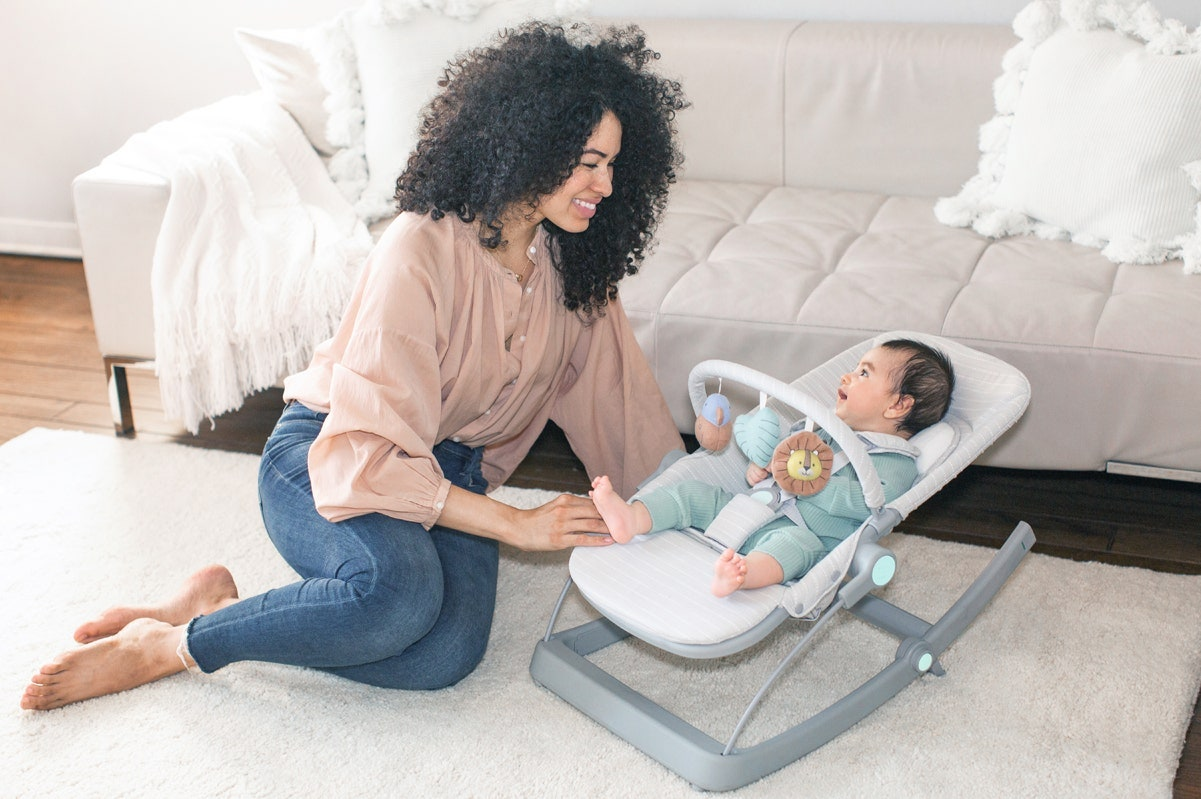 mom and baby playing in 3-in-1 transitioning seat