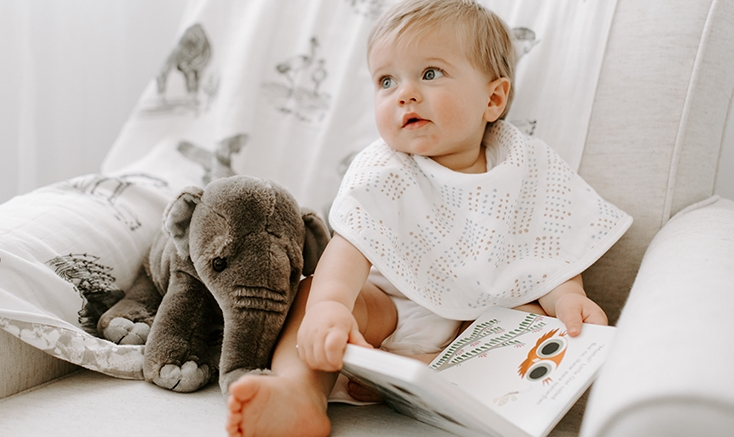 Baby reading book - Aden and Anais