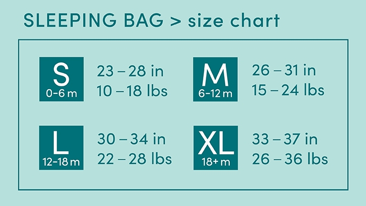 Sleeping bags size chart - Aden and Anais