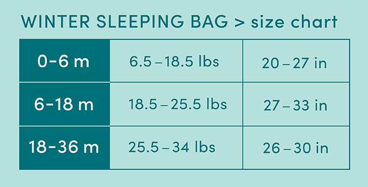 Winter sleeping bag - size chart - Aden and Anais
