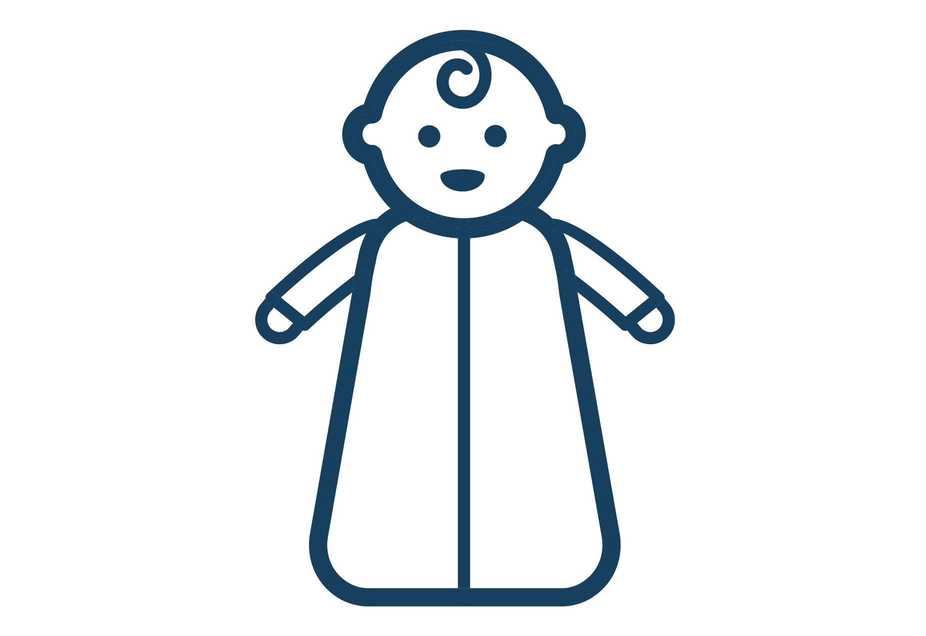 baby in wearable blanket icon